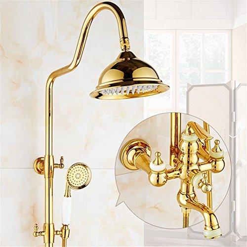 Juego de ducha de oro Cristal de latón expuesto bañera Grifería de...