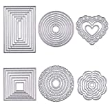 BENECREAT 6 Sets Cutting Dies Cut Metal Scrapbooking Stencils Nesting Die with Clear Storage Box for Festival Chrismas Embossing Photo Album Cards Making - Round, Square, Rectangle, Heart, Flower