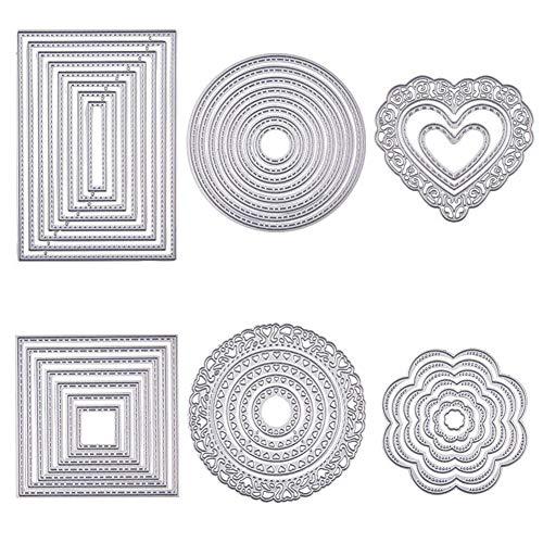 BENECREAT 6 Sets Cutting Dies Cut Metal Scrapbooking Stencils Nesting Die for Festival Chrismas Embossing Photo Album Cards Making - Round, Square, Rectangle, Heart, Flower