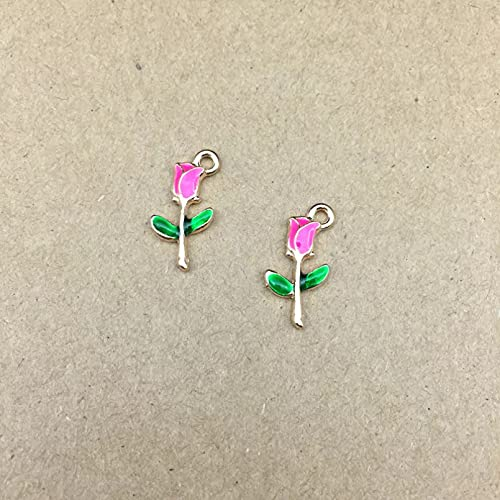 LLBBSS 10 Piezas 19X10Mm Esmalte Rosas Encantos De Flores Ramo Hacer Accesorios Pulsera Pendientes Colgante Hecho A Mano Material De Bricolaje