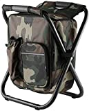 Juflix Folding Camping Chair Stool Backpack with Cooler Insulated Picnic Bag, Hiking Camouflage Seat...