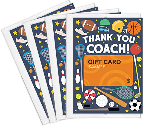 Tiny Expressions Sports Coach Thank You Gift Card Holders (4 Gift Card...