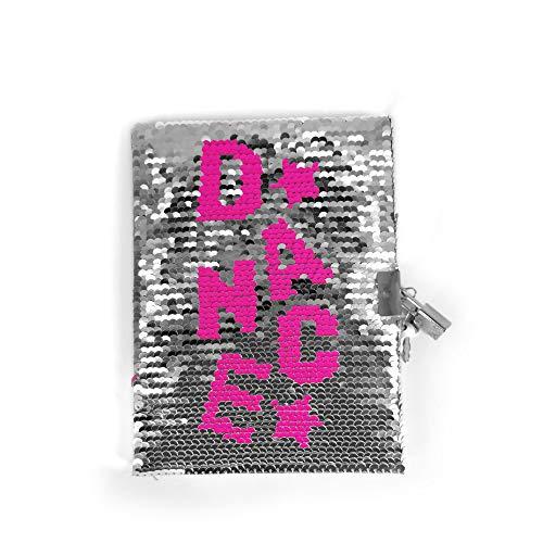 DIMENSIONE DANZA SISTERS, Diario segreto con lucchetto, pagine bianche e copertina rigida con paillettes reversibili, idee regalo per ragazze, Dimensioni 18x13x1,5 cm… (Rosa e argento)
