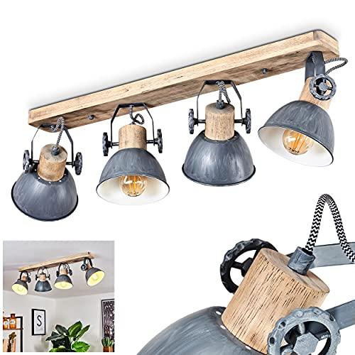 Deckenleuchte Orny, 4-flammiger Deckenstrahler aus Holz und Metall in grau, Industrial/Vintage Look Zimmerlampe, 4 x E27 max. 60 Watt, die Leuchtenköpfe sind verstellbar