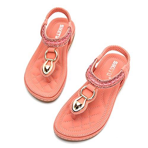 gracosy Damen Sandalen, Mädchen Flach Zehentrenner 2019 Frühling Sommer Hausschuhe Offene Spitze Strand Schuhe Böhmischen Flip Flops Klassischen Tangas T-Strap Schuhe Schwarz Blau, MEHRWEG