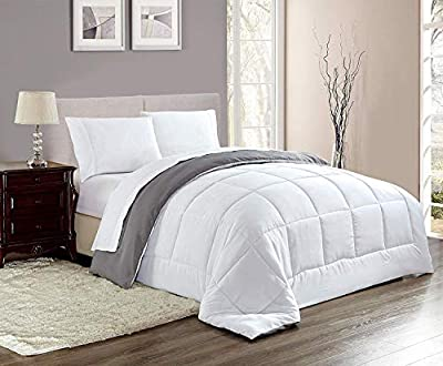 Woven Trends All Season Full/Queen Comforter Set, Down Alternative Comforter Hotelierier Collection Reversible, Stitched Quilted with Soft Microfiber Fill Bedding (Full/Queen, White/Gray)