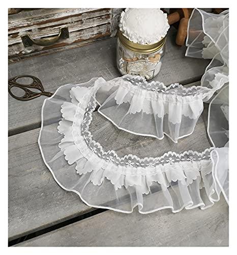 JOMOSIN SD819 1 Yarda Plisada Guipure Tul Cinta de cordón 7 cm de Costura de Bricolaje con Volantes de Marfil de Encaje de Marfil Vestido de decoración de la decoración artesanía Cinta de Encaje