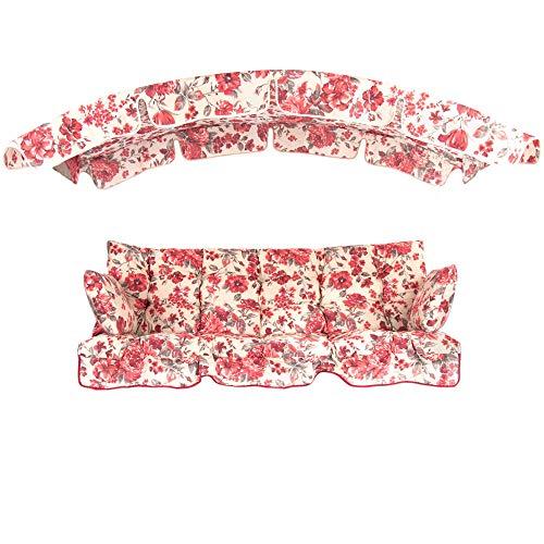PATIO Auflagen Set Ravenna 175 cm mit Sonnendach für Hollywoodschaukel Polsterauflage Sitzkissen Rückenkissen Seitenkissen GestepptA050-03PB