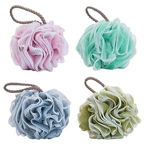 JOYARA 4pcs Spugna da bagno, Spugne doccia Esfolianti, pouf in rete di qualità premium