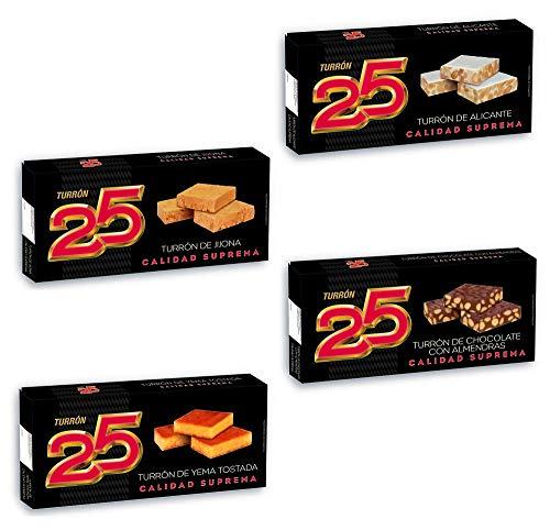 TURRON 25 Pack Tradicional 4 Uds: Turrón Alicante 250Gr, Turrón Jijona 250Gr, Turrón Yema Tostada 200Gr, Turrón Chocolate Almendras 200Gr. Turrón blando,turrón duro. Almendra calidad suprema.