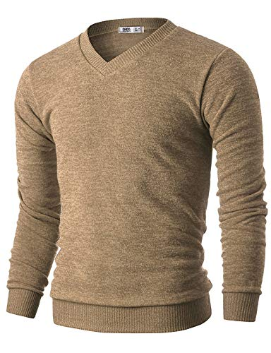 OHOO Mens Slim Fit Light Weight V-Neck Pullover Sweater/DCP015-LIGHTBROWN-S