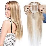 Hair Topper Capelli Veri Donna Extension Clip Umani Parrucca 100% Remy Human Hair Toupet Silk Top Lace 6cm x 9cm Toupee 110% Density 40cm-30g #12 Marrone Chiaro mix #613 Biondo Chiarissimo