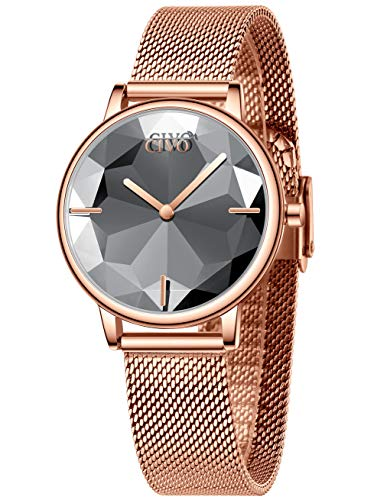 CIVO Damenuhr Wasserdicht Roségold Armbanduhr Damen Mädchen Edelstahl Mesh Damen Uhr Elegant Analog Quarz