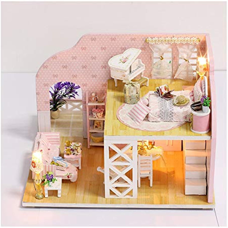 GUHUA Kinder DIY Kreative Handgemachte Prager Trume Thema 3D Holzhütte Puppenhaus Montage Gebude Modell Spielzeug Geschenk Set