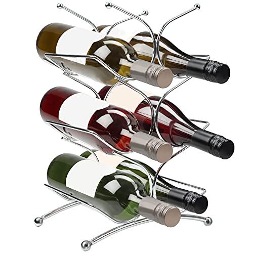 BELLE VOUS Botellero Vino Acero Inoxidable para Encimera – Puede Contener 6 Botellas Botellero Vino Vertical 3 Niveles - Porta Vinos Almacenar y Exhibir – Uso en Cocina, Alacena, Bodega y Repisa