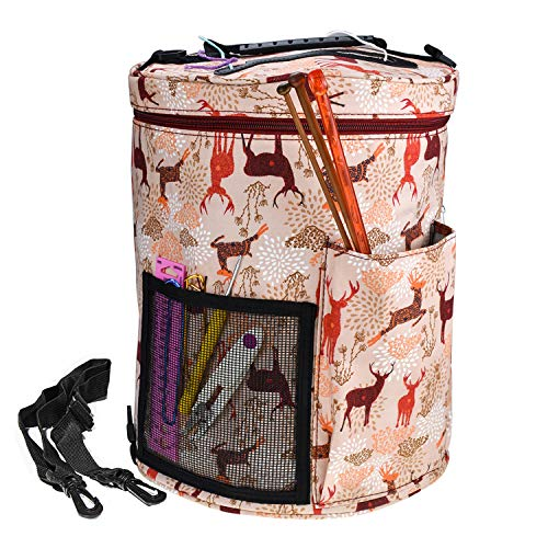 KOKNIT Yarn Storage Bag, Knitting and Crochet Organizer for Carrying Projects, Large Craft Supplies Bag with Shoulder Strap