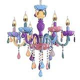 Colorful Chandelier Crystal 6 Lights Pendant Ceiling Lighting Fixture for Girl,Daughter,Children's Room,Dinning Room Crystal Chandelier