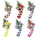 6 piezas, Parche termoadhesivo,pegatinas de tela bordadas,ropa de bricolaje,adecuada para abrigos,camisetas,jeans, serie de flores de peonía