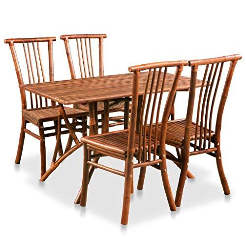 vidaXL Conjunto Comedor Bambú Marrón 5 Piezas Muebles Mesa Silla Salón Cocina