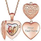 Collana con medaglione da donna Catena con foto in oro rosa con incisione di testo Regali personalizzati con ciondolo a cuore per mamma Donna Nonna Nanny Girlfriend