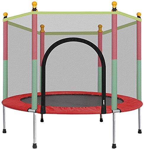 YONIISEA Kids Basketball Hoop Trampoline, 5 FT Kids Trampoline with Enclosure Net Jumping Mat And Spring Cover Padding…