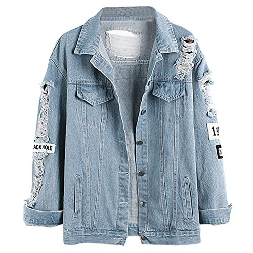 Damen Casual Jeansjacke mit Patches Blouson Knopfverschluss Cut-outs Denim Jacket Jeans-Jacke (EU 42(L), Blau)
