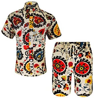 Men's Floral 2 Piece Tracksuit Casual Button Down Short Sleeve Hawaiian Shirt and Shorts Suit