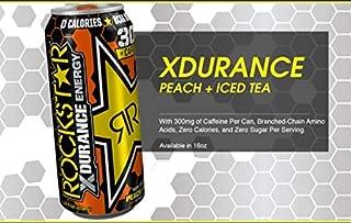 Rockstar Xdurance Energy Drink, Peach Iced Tea, Non Carbonated, 16fl.oz (Pack of 16)