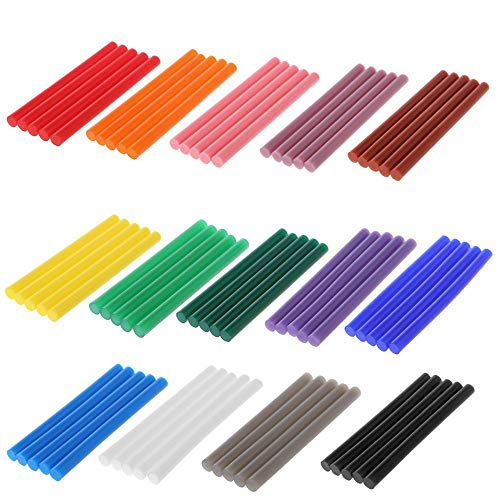 Hot Melt Glue Stick 5Pcs Hot Melt Glue Stick Colorful 7x100mm Adhesive for DIY Craft Toy Repair Tool - (Type: Lgn)