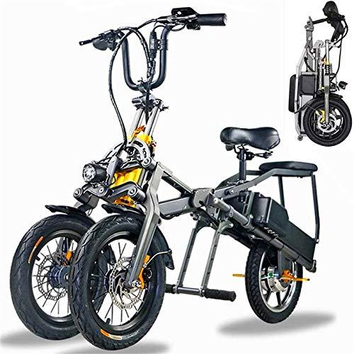 Bici electrica, 3 ruedas plegable bicicleta eléctrica for los adultos, 350W extraíble...