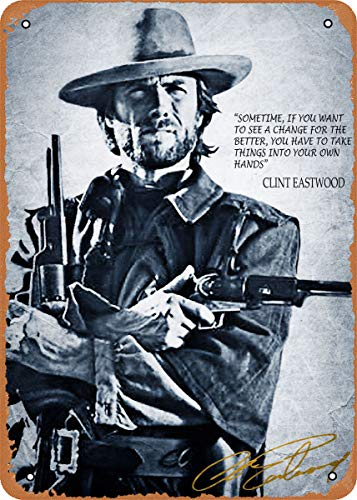 Unidwod Clint Eastwood Classic Cowboy 8 x 12 Inches - Vintage Metal Tin Sign for Home Bar Pub Garage Decor Gifts
