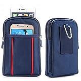 jbTec Gürtel-Tasche Handy-Tasche Nylon 175x110x30mm - Hüfttasche Gurttasche Koppeltasche Gürtelcase Case Etui Bag Reisen, Farbe:Dunkelblau & Rot