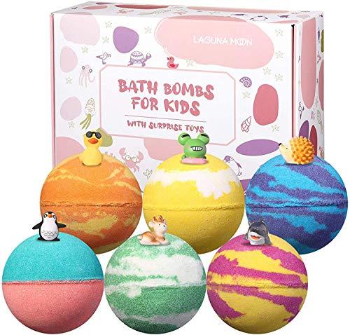 Badebomben Kinder, Lagunamoon Badebomben Geschenkset 6pcs , Badespaß mit Spielzeug Badekugeln Geschenk für Kinder, Schaumbad, Badekugeln Geschenkset für Geburtstag, Weihnachten, Frauen Freundin