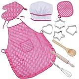 cff Cocinas de Juguete para Nios Delantal Infantil Gorro Chef Accesorios Cocina Juguetes, 11 Piezas Delantal y Gorro Cocina para Nios para Mayores de 3 aos