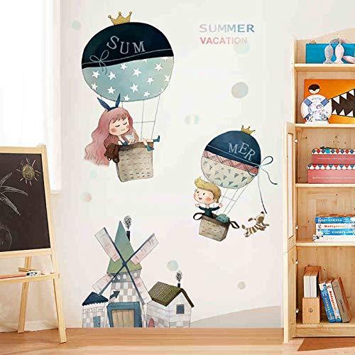 Mädchen Cartoon Luftballons Windmühle Wandaufkleber Abziehbilder Babyzimmer Kindergarten Dekoration Wandaufkleber Abziehbilder Dekoration