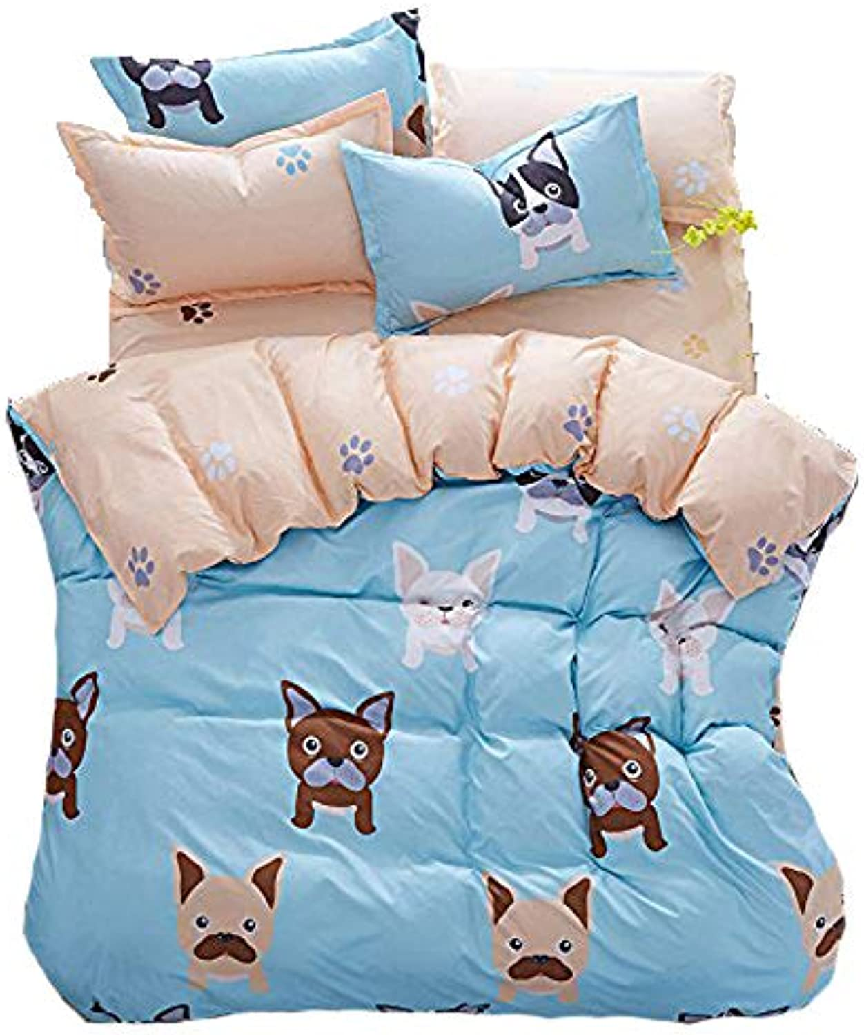4pcs Kids Bedding Sets Bedroom Set With One Duvet Cover Without Comforter One Flat Sheet Two Pillowcases With Twin Full Queen Size Cute Dog Design (Full, Cute Dog)