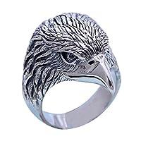 メンズレディースアクセサリー ヴィンテージ イーグルヘッドリング指輪 シルバー925、サイズ18号