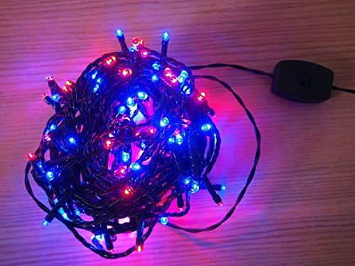 Duocolor - Guirlande lumineuse clignotante 8m 128 LED rouge et bleu
