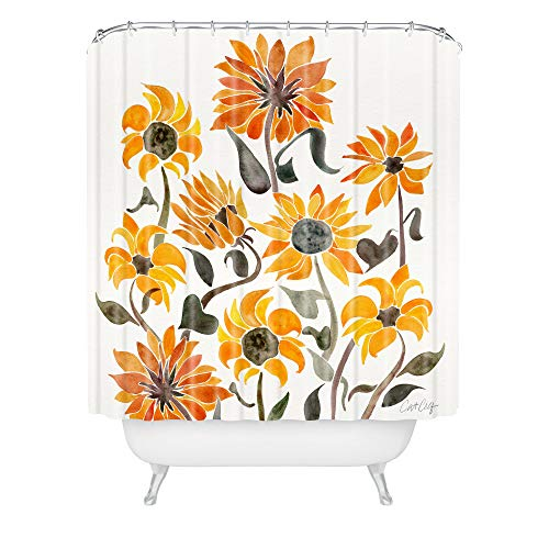 Society6 Cat Coquillette Sunflower Watercolor Yellow Shower Curtain, 72' x 69' x 0.1'