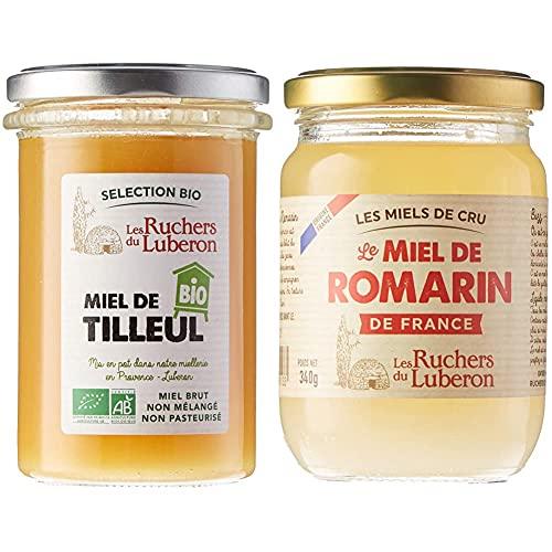 Les Ruchers du Luberon Miel Bio de Tilleul 370 g & Miel de Romarin de France 340 g