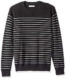 Marchio Amazon - Goodthreads - Maglione a girocollo, a righe, da uomo, in morbido cotone, Nero (Black/heather grey stripe Bla), US S (EU S)