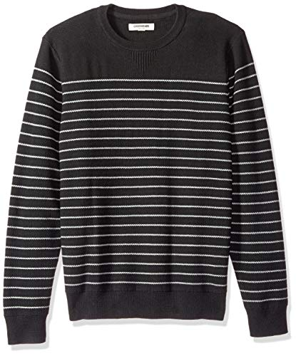 Goodthreads Men's Soft Cotton Multi-Color Striped Crewneck Sweater, Black/Heather Grey, Large