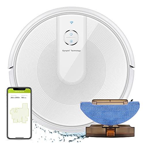 KÝVÖL E31 Robot Aspirapolvere e Lavapavimenti 2 in 1, Aspirapolvere e Lavapavimenti 2200 PA, 150 min di Autonomia, Booster Automatico del Tappeto, Navigazione Intelligente, Funziona con Alexa,bianco