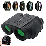 12x25 Compact Binoculars,Large Eyepiece Waterproof Binocular for Adults Kids,High Power Easy Focus Binoculars for Bird Watching,Outdoor Hunting,Travel+5in1 Phone Lens kit,for Most iPhone Smartphone