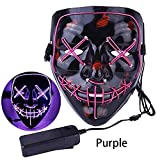 Christmas Mask LED Light up Purge Mask Frightening Wire Cosplay for Christmas Festival Parties Costume(Purple)