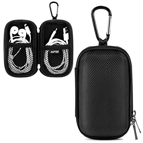 AGPTEK MP3 Player Case, Portable Music Player Case with Metal Carabiner Clip for 1.8 inch MP3 Players, iPod Nano, iPod Shuffle Black