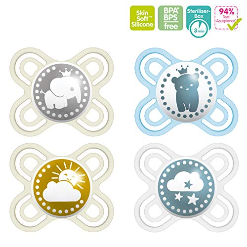 MAM mini Perfect Start Silikon Schnuller 0-2 besonders dünn & flexibel // 4er Set // inkl. 2 Sterilisiertrasportboxen