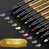 Metallic Marker Pens, Funnasting Set of 10 Assorted Colours Painting Pens Art Marker for Card Making, Scrapbooking, DIY Photo Album, Plastic, Glass, Metal, Wood, Stone, Clothes and Pottery