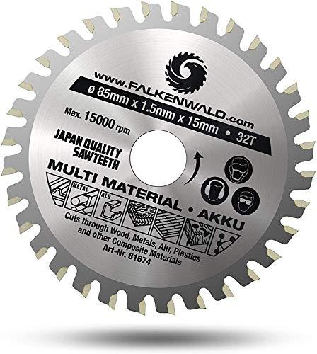FALKENWALD ® Akku Sägeblatt 85x15 mm - Ideal für Holz, Metall & Alu - Kompatibel mit Bosch GKS 12v-26 & Makita Mini Handkreissäge - Universal Saegeblatt 85 x 15 aus hochwertigem Hartmetall