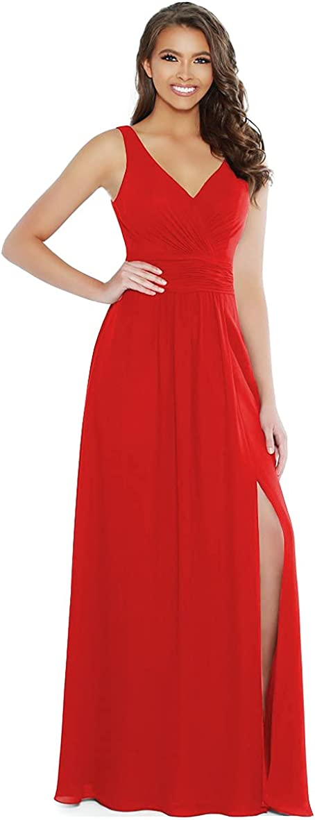 Stylefun V-Neck Bridesmaid Dresses for Women Long A-Line Split Pleated Chiffon Formal Evening Gowns with Pockets CYM031